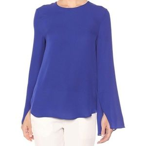 Theory | Cobalt Blue 100% Silk Blouse Medium